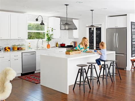 kitchen with living room design contemporary white kitchen and living room makeover hgtv 8759