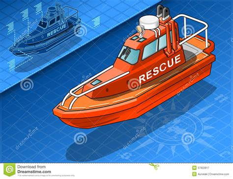 Boat Rescue Cartoon by Isometric Rescue Boat In Front View Stock Vector