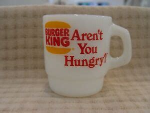 The official facebook page for burger king us. Anchor Hocking Burger King Aren't You Hungry Milk Glass Advertising Coffee Mug | eBay