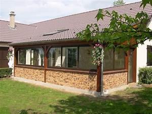 svl veranda bois et sas d entree svl With veranda sur terrasse bois