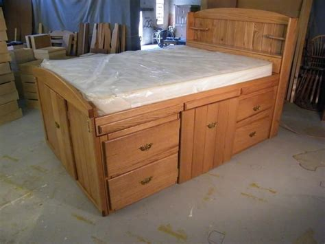woodworking full size storage bed plans   full
