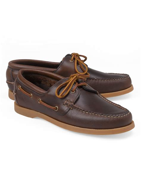 Brooks Brothers Boat Shoes by Brooks Brothers Leather Boat Shoes In Brown For Men Lyst