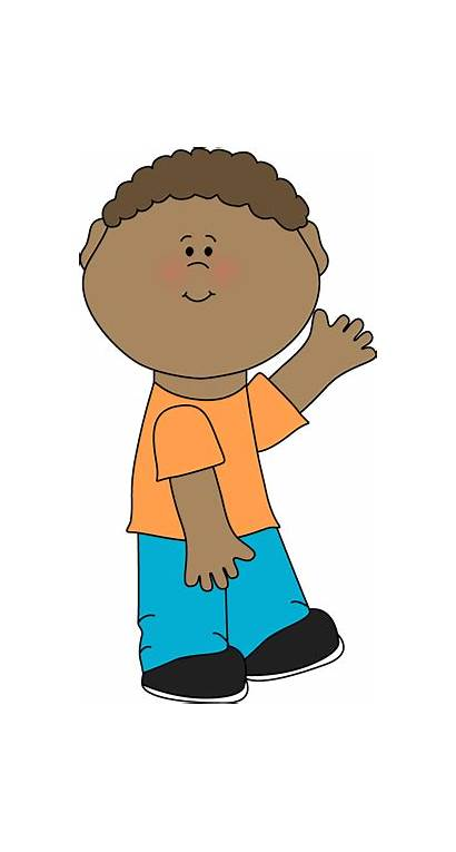Boy Waving Clip Graphics Jeans Wearing Orange