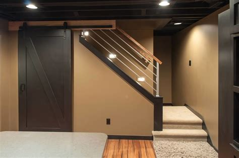 Exposed Basement Ceiling Lighting Ideas by Schubbe Basement Remodel Traditional Basement