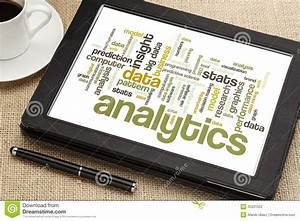 Analytics Word Cloud On Digital Tablet Stock Photography ...