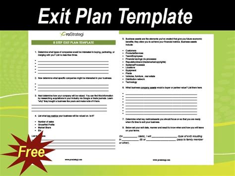 exit plan template  business meylah