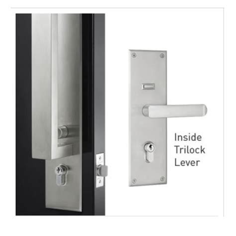 gainsborough trilock omni series allure tri lever satin stainless steel double cylinder