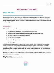 Word Basics Class Handout