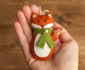 red fox christmas ornament felt fox woodland by greyfoxfelting