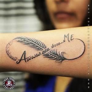 Wonderful Feather And Infinity Symbol Tattoo On Arm Sleeve ...