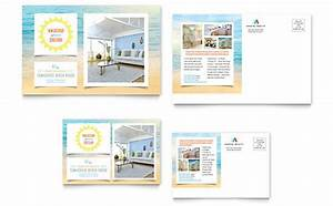 coastal real estate postcard templates word publisher With microsoft office postcard templates