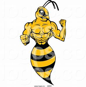Vector Logo Of A Ruthless Wasp Flexing Muscles By Vector