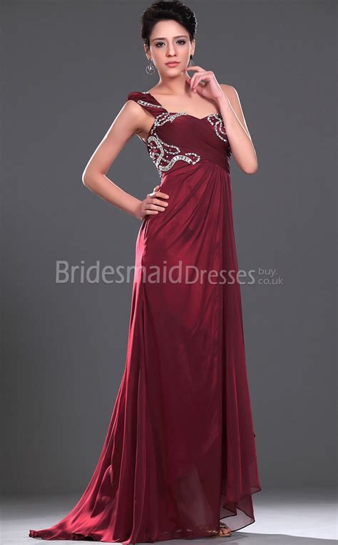 burgundy chiffon  shoulder floor length