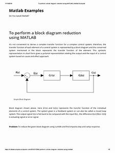 To Perform A Block Diagram Reduction Using Matlab   Matlab Examples
