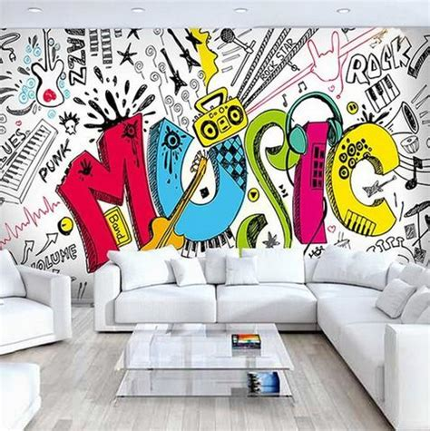 Abstract Wallpaper Design For School by 3d Abstract Graffiti Design Big Wall Mural For Cafe