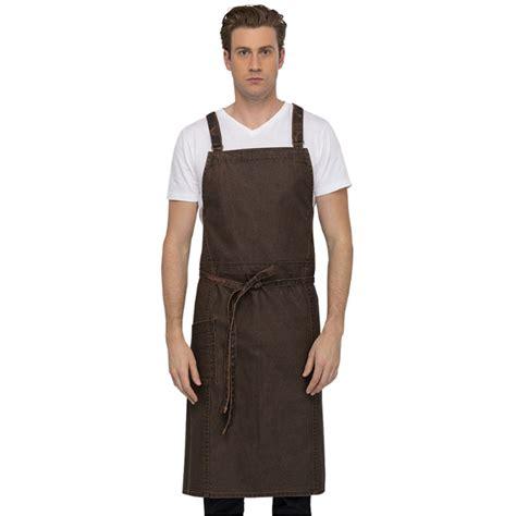 chefworks bib apron denver chef cross rust chocolate