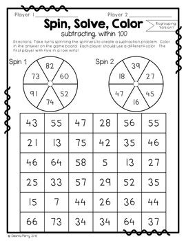 addition  subtraction    prep partner games