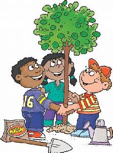 Three Children Planting A Tree | Clipart | The Arts ...