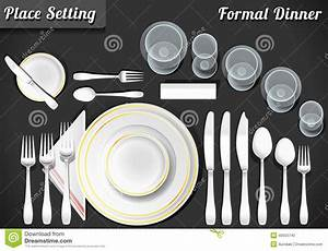 Set Of Place Setting Formal Dinner Stock Vector
