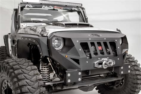 jeep bumper grill fab fours quot grumper quot jeep jk integrated grille winch
