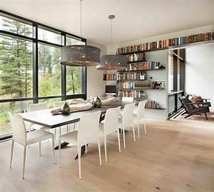 moderne maison rustique a larchitecture et agencement With coin bureau dans salle a manger