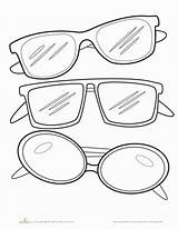 Sunglasses Coloring Template Worksheets Glasses Kindergarten Pages Printable Outline Education Worksheet Colors Clipart Summer Sunglass Clip Sheets Drawing Colorful Colouring sketch template