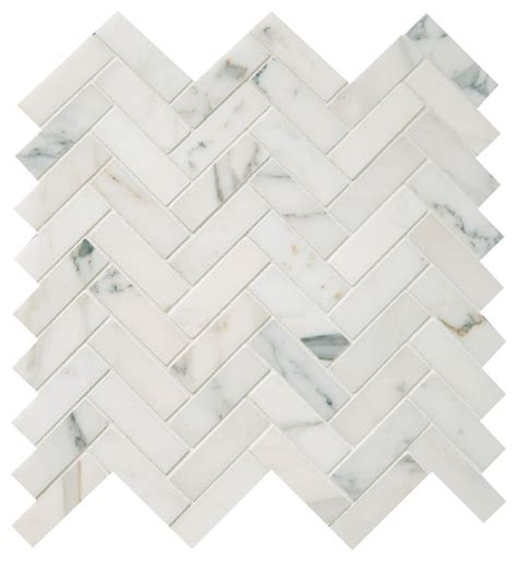 polished calacatta herringbone mosaic tile traditional wall  floor tile  earth
