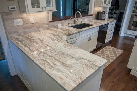 Single Sink With Two Faucets by Fantasy Brown Quartzite Countertops Traditional