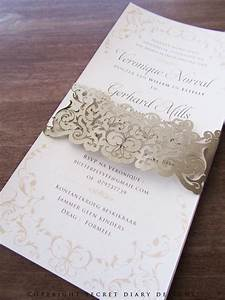 vernonique dl lasercut bellyband invite 02 wedding paper With lace belly band for wedding invitations