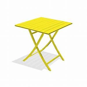 Table De Jardin 2 Personnes : table de jardin marius carr e jaune zinc 2 personnes ~ Dailycaller-alerts.com Idées de Décoration