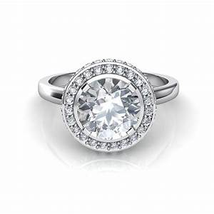 Classic shank two sided micro pave diamond halo engagement for Halo engagement rings with wedding bands