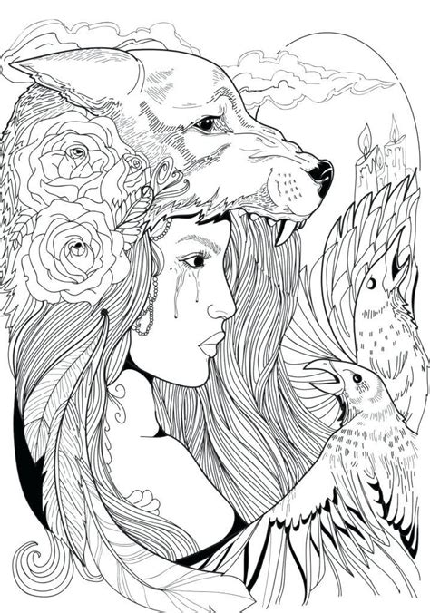 wolf coloring pages  adults  images fairy