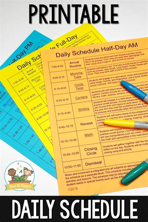 preschool daily schedule and visual schedules 498 | Preschool Daily Schedule Template