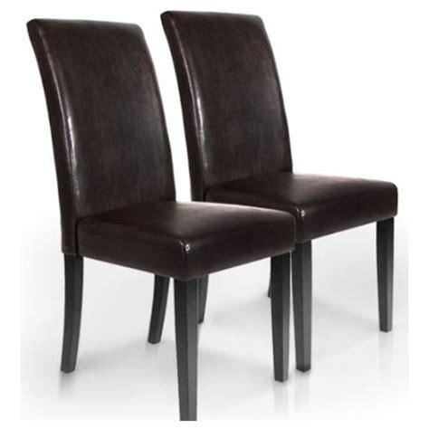 chaise à manger lot 2 chaises marron salle a manger achat vente chaise