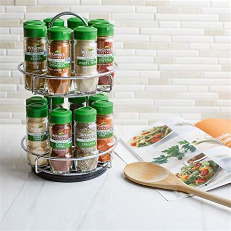 Spice Rack Gift by Mccormick Two Tier Chrome Organic Spice Rack