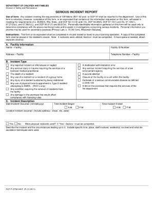 Serious Incident Report Fillable  Fill Online, Printable