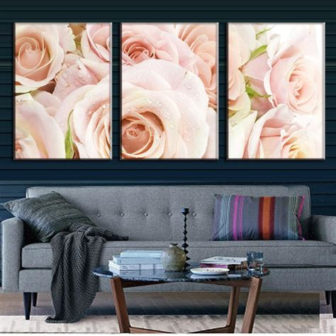 wall posters for bedroom 3 pcs set combined framed flower wall modern light 17755 | 3 Pcs set Combined Framed Flower Wall Art Modern Light Pink Roses Canvas Prints Painting For