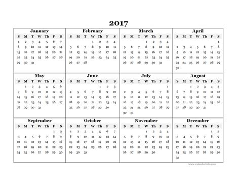 Calendar Template 2017 2017 Blank Yearly Calendar Template Free Printable Templates