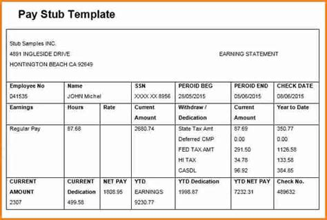 paycheck template 6 free editable pay stub template simple salary slip