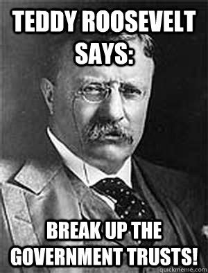 Teddy Roosevelt Memes - teddy roosevelt says break up the government trusts government trust buster quickmeme