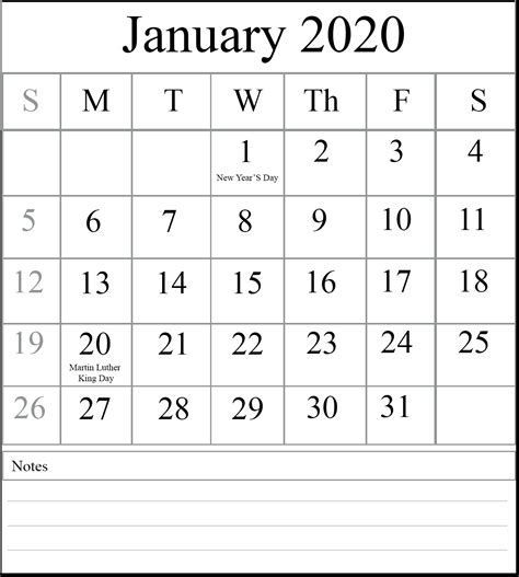 january  blank calendar printable  excel word