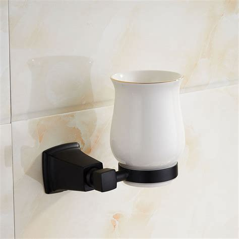 Bathroom Tumbler And Toothbrush Holder Black Paint Stainless Steel Bathroom Toothbrush Cup Holder