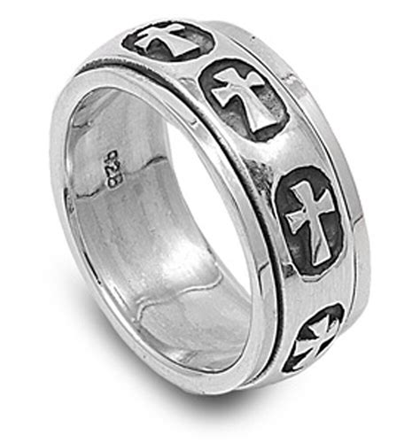 sterling silver womans mens heavy cross ring wholesale