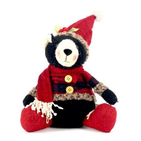 holiday time christmas black bear plush decor red