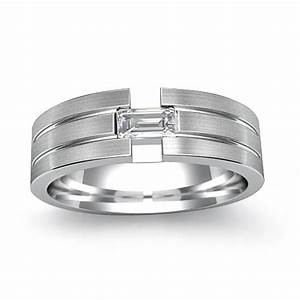 025ct baguette diamond men39s wedding band 14k white gold ring for Mens wedding rings baguette diamonds