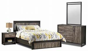 Hudson 5 piece queen bedroom set rustic brown leon39s for Bedroom furniture sets tyler tx