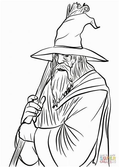 Gandalf Coloring Lord Rings Lotr Hobbit Ring
