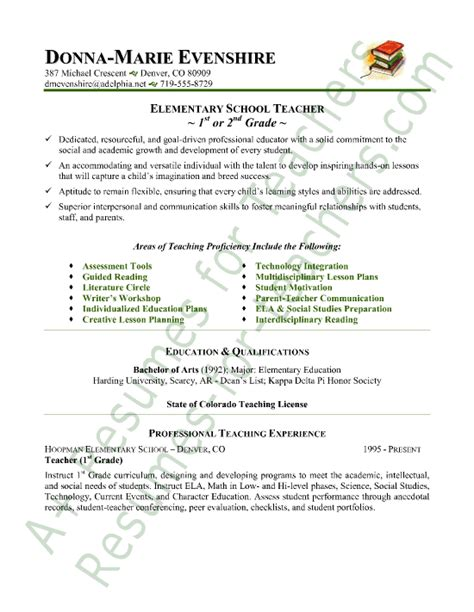 Resumes For Teachers by Elementary Resume Sle Resumes