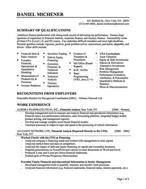 Resume Experience In Finance by Resume For Skills Financial Analyst Resume Sle Resumes Resume Template