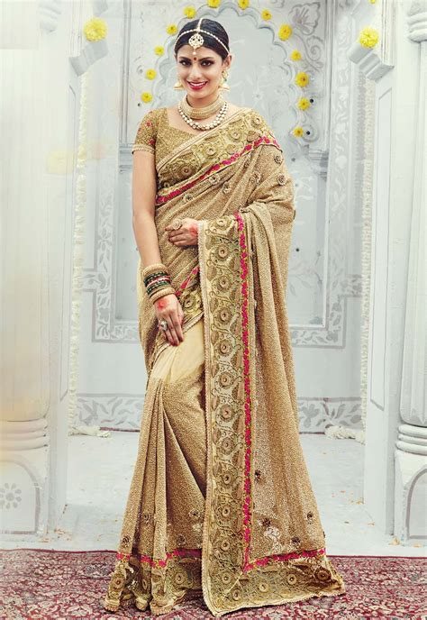 Sarees For Reception Party Online Germany, Beige Reception